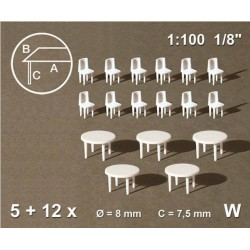 Tables rondes + 12 chaises blanches / Round tables + 12 chairs, white 1/100