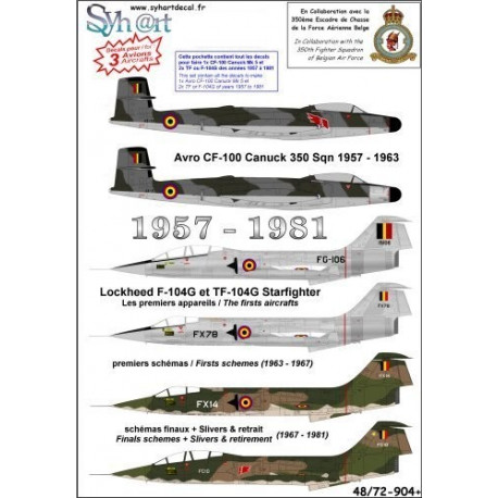 "Decal ""belge"" avro cf-100 canuck 350 sqn 1957-1963 1/48"