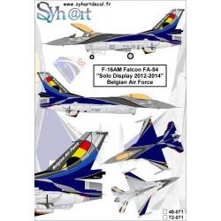 "F-16am Falcon Fa-84 ""Solo display 2012-2013"" belgian air force 1/72"
