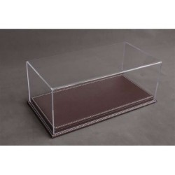 Vitrine Base en Cuir Brun foncé / Display Case Base in Leather Dark Brown, 325x165x125mm, 1/18