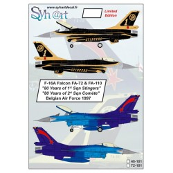 """F-16A Falcon FA-72 & FA-110 """"80 Years 1st & 2nd Sqn"""", 1997, Belgian Air Force, 1/72"""