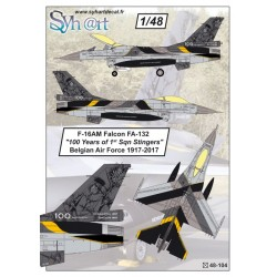 """F-16AM Falcon FA-132 """"100 Years 1st Sqn Stingers"""", 1917-2017, Belgian Air Force, 1/48"""
