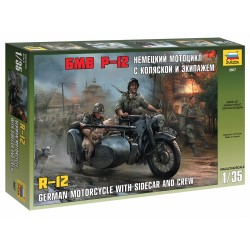 German Motorcycle with Sidecar R12 and crew, WWII 1/35