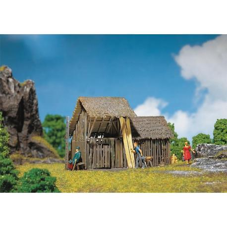 Grange à claire-voie / Log barn H0
