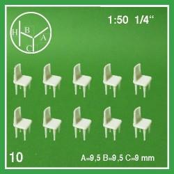 Dix chaises, à peindre