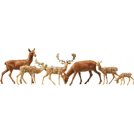 Cerfs et daims / Fallow deer + red deer, 12 pces N
