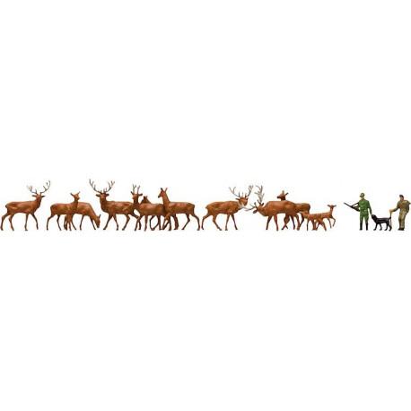 Garde-forestier et cerfs / Forest hands, forester, deer N