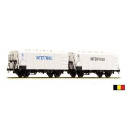 Set de 2 wagons ICEFS blanc Interfrigo bleu et noir.