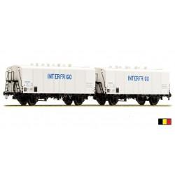 Set de 2 wagons ICEFS blanc Interfrigo bleu