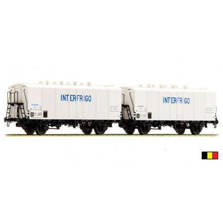 Set de 2 wagons ICEFS blanc Interfrigo bleu