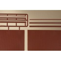 2 plaques murs de briques / Brick walls with optional decoration red H0