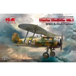 Gloster Gladiator Mk.I,WWII British Fighter, avec Décals Belges 1/32