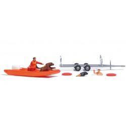 Sauvetage Aquatique avec chien et cannot / Water Rescue Set H0
