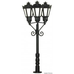 Park lamp triple, black, LED warm-white H0