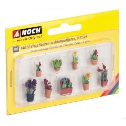 9 pots de fleurs H0