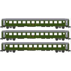 Coffret de voitures-couchettes CFF RIC avec éclairage intérieur, époque IV