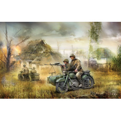 Soviet M-72 Sidecar Motorcycle with Crew 1/72